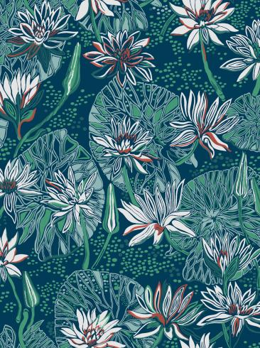 The wallpaper Näckros from Engblad & Co. The wallpaper design and pattern is blue and consists of Floral Traditional
