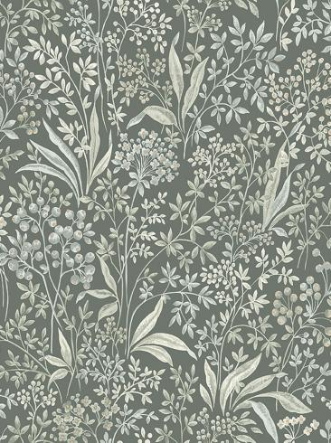 The wallpaper Nocturne from Boråstapeter. The wallpaper design and pattern is green and consists of Archive Floral Foliage