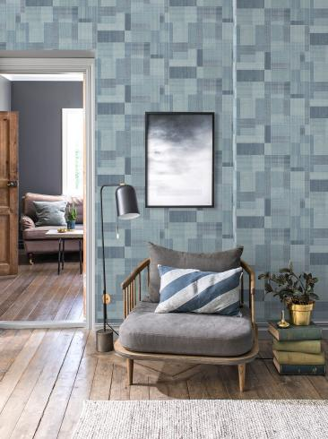 The wallpaper Norrköping from Engblad & Co. The wallpaper design and pattern is blue and consists of Graphic Sketched