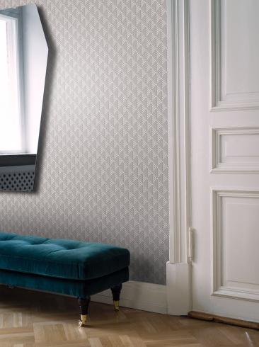The wallpaper Opera from Engblad & Co. The wallpaper design and pattern is grey and consists of Graphic