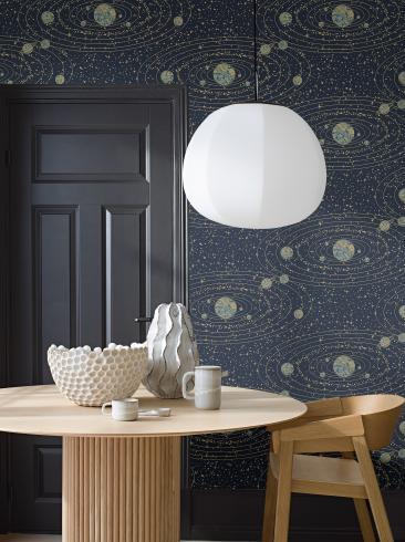 The wallpaper Orbit from Engblad & Co. The wallpaper design and pattern is blue and consists of Graphic Maps Stars
