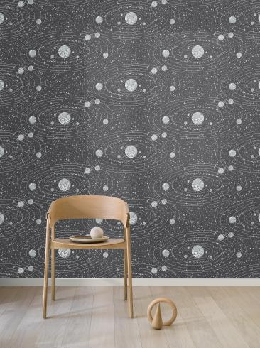 The wallpaper Orbit from Engblad & Co. The wallpaper design and pattern is black and consists of Graphic Maps Stars