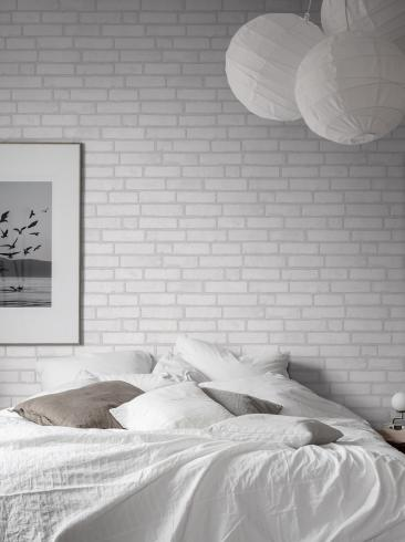The wallpaper Original Brick from Boråstapeter. The wallpaper design and pattern is white and consists of Brick