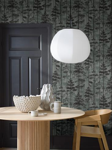 The wallpaper Pine from Engblad & Co. The wallpaper design and pattern is green and consists of Forest Tree