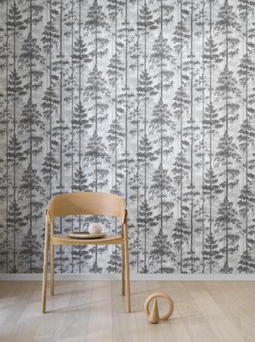 The wallpaper Pine from Engblad & Co. The wallpaper design and pattern is black & white and consists of Forest Tree