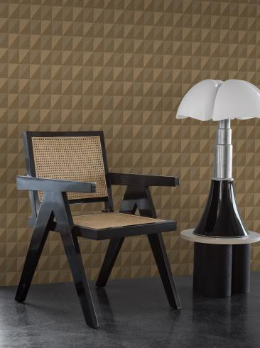 The wallpaper Plaza from Engblad & Co. The wallpaper design and pattern is brown and consists of Geometric Graphic