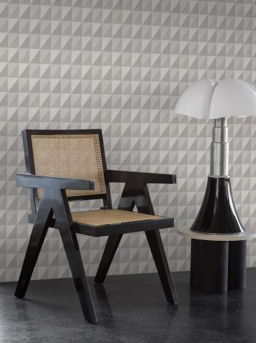 The wallpaper Plaza from Engblad & Co. The wallpaper design and pattern is grey and consists of Geometric Graphic