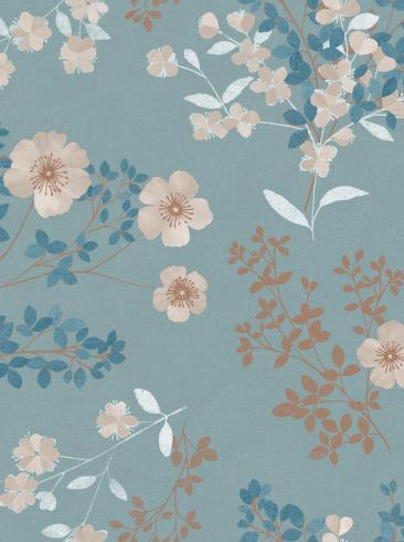 The wallpaper Prairie Rose from Boråstapeter. The wallpaper design and pattern is blue and consists of Floral