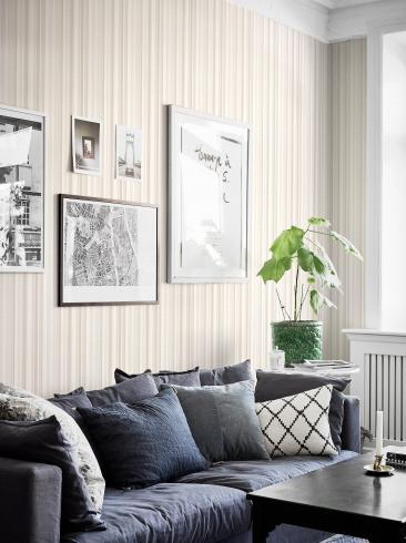 The wallpaper Rhythm from Boråstapeter. The wallpaper design and pattern is neutrals and consists of Graphic Stripe Structure Textile