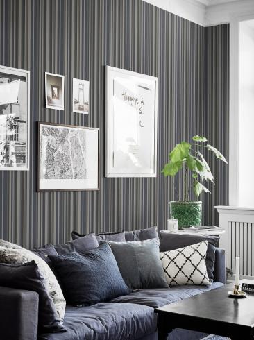 The wallpaper Rhythm from Boråstapeter. The wallpaper design and pattern is grey and consists of Graphic Stripe Structure Textile
