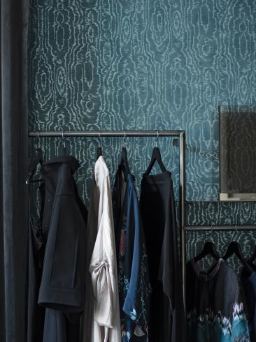 The wallpaper Riviera from Engblad & Co. The wallpaper design and pattern is blue and consists of Single Colour