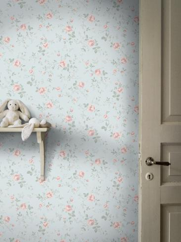 The wallpaper Rose Garden from Boråstapeter. The wallpaper design and pattern is blue and consists of Children's Floral