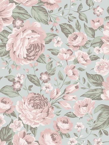 The wallpaper Rosie from Boråstapeter. The wallpaper design and pattern is grey and consists of Children's Floral
