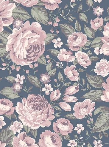 The wallpaper Rosie from Boråstapeter. The wallpaper design and pattern is blue and consists of Children's Floral