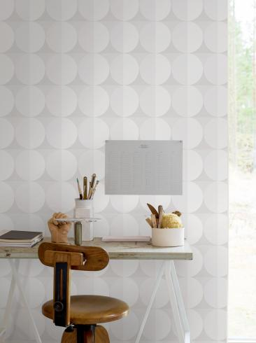 The wallpaper Sahara Moon from Engblad & Co. The wallpaper design and pattern is white and consists of Dotted