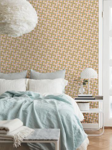 The wallpaper Vertigo from Boråstapeter. The wallpaper design and pattern is pink and consists of Graphic