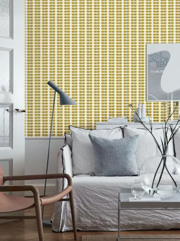 The wallpaper Berså from Boråstapeter. The wallpaper design and pattern is yellow and consists of Plants