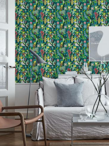 The wallpaper Melodi from Boråstapeter. The wallpaper design and pattern is multi and consists of Playful & Imaginative