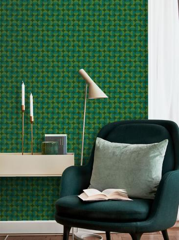 The wallpaper Vertigo from Boråstapeter. The wallpaper design and pattern is green and consists of Graphic