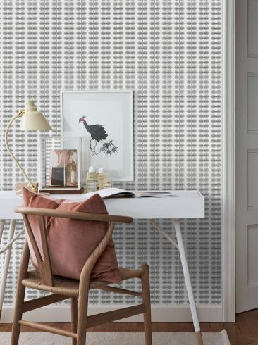 The wallpaper Berså from Boråstapeter. The wallpaper design and pattern is grey and consists of Plants