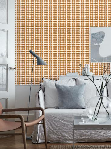 The wallpaper Berså from Boråstapeter. The wallpaper design and pattern is orange and consists of Plants
