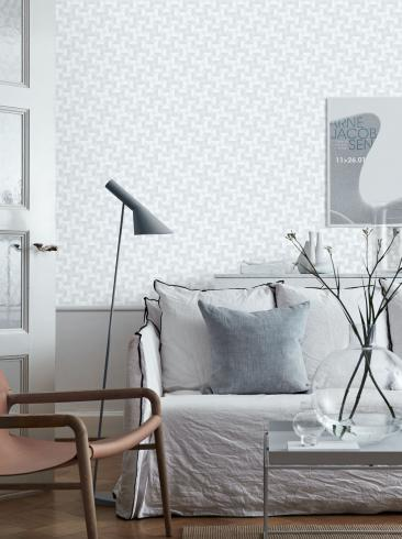 The wallpaper Vertigo from Boråstapeter. The wallpaper design and pattern is white and consists of Graphic