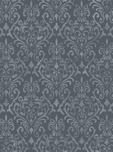 The wallpaper Serenade from Boråstapeter. The wallpaper design and pattern is blue and consists of Damask