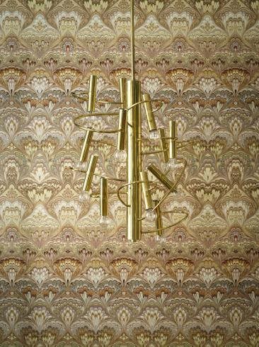 The wallpaper Shangri-La from Engblad & Co. The wallpaper design and pattern is multi and consists of Floral Damask