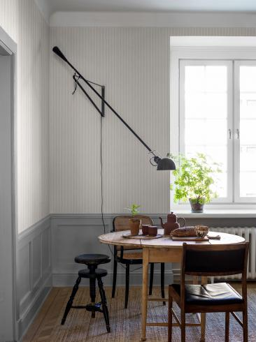 The wallpaper Shirt Stripe from Boråstapeter. The wallpaper design and pattern is neutrals and consists of Stripe