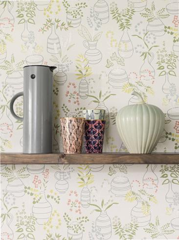 The wallpaper Stilleben from Engblad & Co. The wallpaper design and pattern is and consists of Floral Sketched