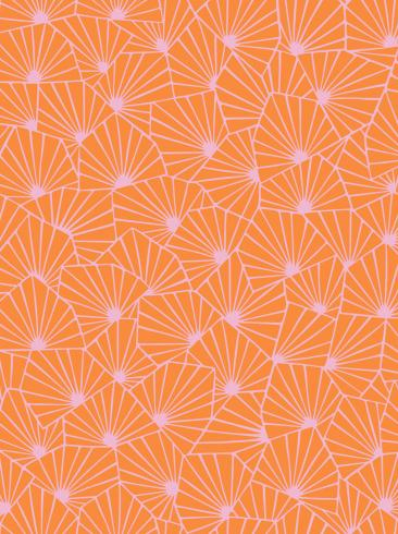 The wallpaper Stjärnflor from Boråstapeter. The wallpaper design and pattern is orange and consists of Playful & Imaginative