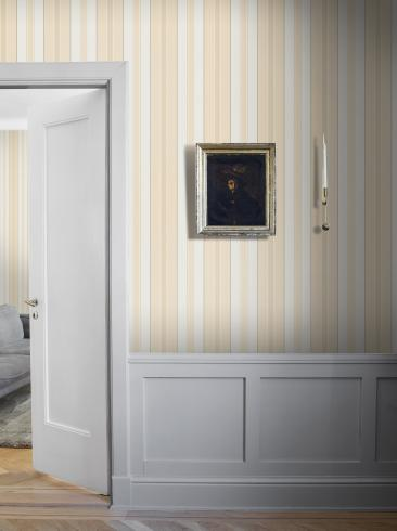 The wallpaper Stockholm Stripe from Boråstapeter. The wallpaper design and pattern is yellow and consists of Stripe