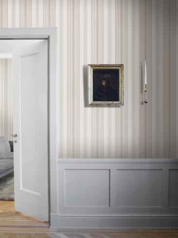 The wallpaper Stockholm Stripe from Boråstapeter. The wallpaper design and pattern is neutrals and consists of Stripe