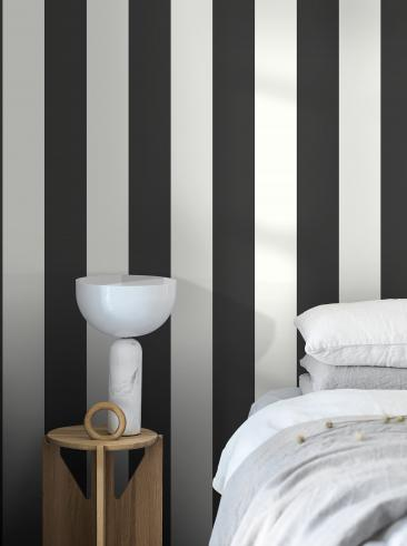 The wallpaper Stripe M from Engblad & Co. The wallpaper design and pattern is black & white and consists of Stripe