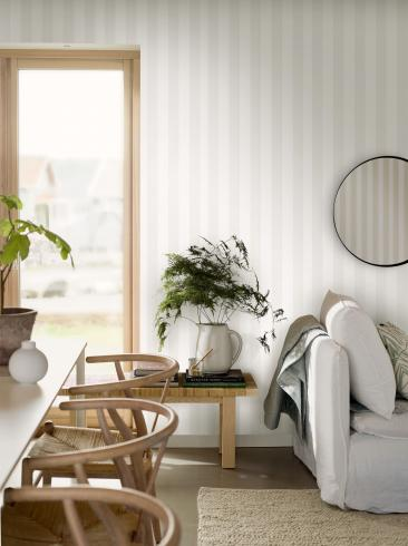The wallpaper Stripe S from Engblad & Co. The wallpaper design and pattern is white and consists of Stripe