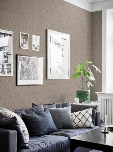 The wallpaper Swing from Boråstapeter. The wallpaper design and pattern is neutrals and consists of Graphic Sketched Structure Textile