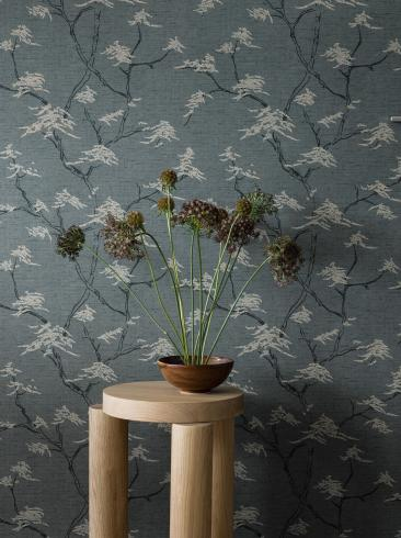 The wallpaper Temple Tree from Boråstapeter. The wallpaper design and pattern is blue and consists of Foliage Tree