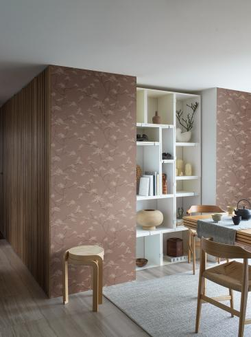 The wallpaper Temple Tree from Boråstapeter. The wallpaper design and pattern is red and consists of Foliage Tree
