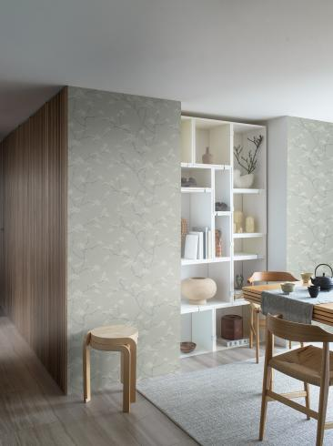The wallpaper Temple Tree from Boråstapeter. The wallpaper design and pattern is green and consists of Foliage Tree