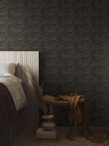 The wallpaper The Wave from Boråstapeter. The wallpaper design and pattern is blue and consists of Contemporary Structure