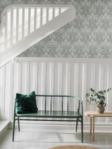 The wallpaper Thistle from Boråstapeter. The wallpaper design and pattern is grey and consists of Floral