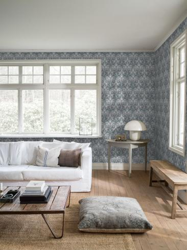 The wallpaper Thistle from Boråstapeter. The wallpaper design and pattern is blue and consists of Floral