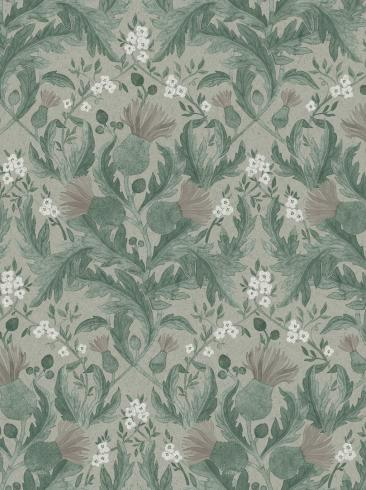 The wallpaper Thistle from Boråstapeter. The wallpaper design and pattern is green and consists of Floral