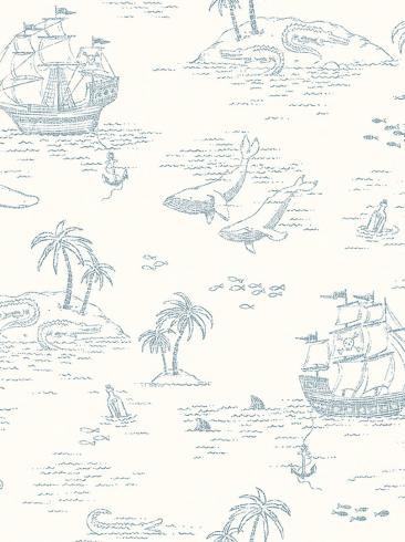 The wallpaper Treasure Island from Boråstapeter. The wallpaper design and pattern is white and consists of Animals Children's Playful & Imaginative