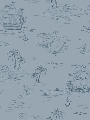 The wallpaper Treasure Island from Boråstapeter. The wallpaper design and pattern is blue and consists of Animals Children's Playful & Imaginative