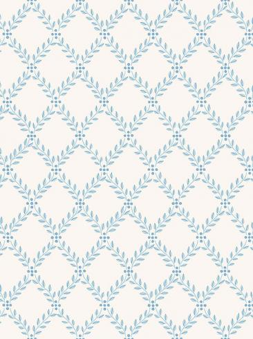 The wallpaper Trellis Leaves from Boråstapeter. The wallpaper design and pattern is blue and consists of Foliage Traditional Trellis