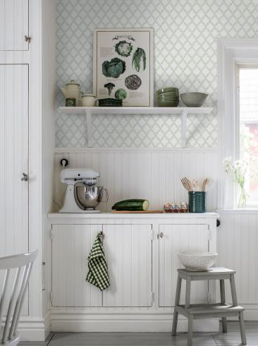The wallpaper Trellis Leaves from Boråstapeter. The wallpaper design and pattern is green and consists of Foliage Traditional Trellis