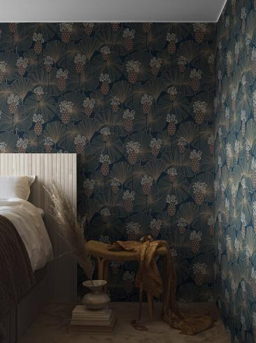The wallpaper Umbrella Leaves from Boråstapeter. The wallpaper design and pattern is blue and consists of Floral Foliage Plants
