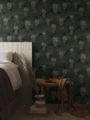 The wallpaper Umbrella Leaves from Boråstapeter. The wallpaper design and pattern is green and consists of Floral Foliage Plants