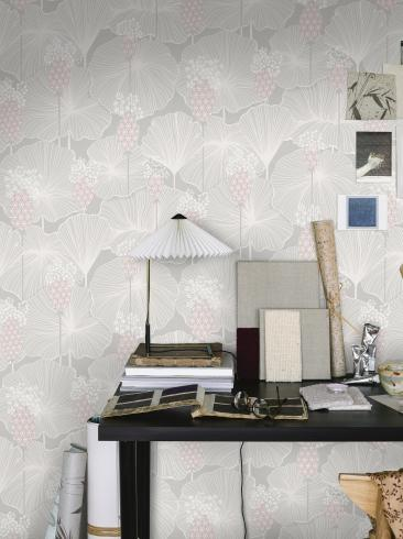 The wallpaper Umbrella Leaves from Boråstapeter. The wallpaper design and pattern is grey and consists of Floral Foliage Plants